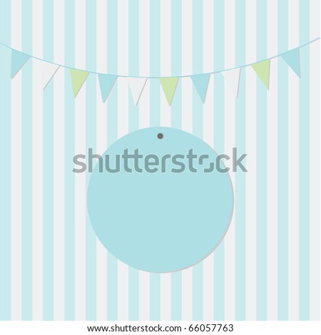 Simple blue birthday card design with bunting for boys - stock vector