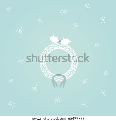 Simple blue card design with christmas wreath, holly and ribbon