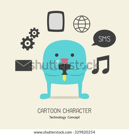 Simple blue cute character for smartphone technology concept, Vector illustration flat design - stock vector