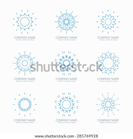 Simple blue geometric abstract symmetric shapes set. Modern business icon collection. Logo template. Hexagon round ornament. Vector symbols, emblems, element and logotypes. - stock vector