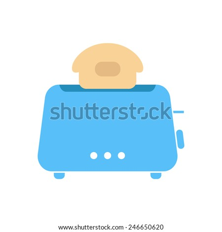 simple blue toaster icon. isolated on white background. concept of beginning of the day, luncheon and homeliness. flat style trendy modern logo design vector illustration - stock vector