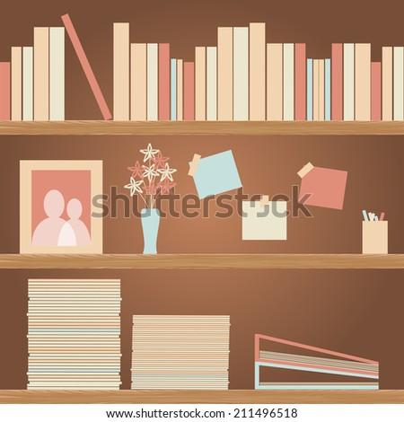 Simple Book Shelf. Wooden Shelves. Vector illustration.  - stock vector