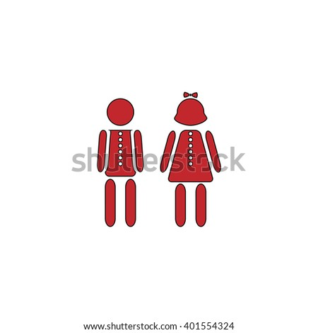 Simple Boy and Girl. Red flat simple modern illustration icon with stroke. Collection concept vector pictogram for infographic project and logo - stock vector