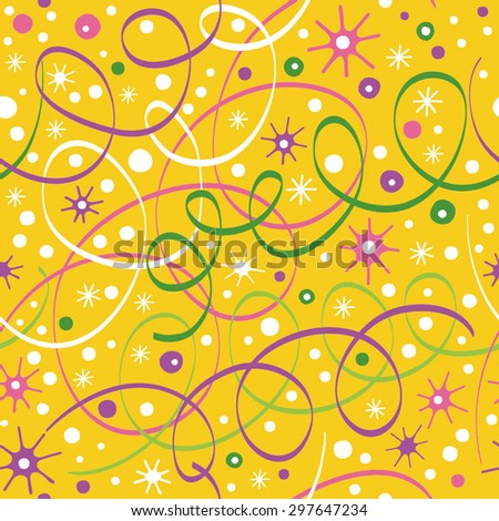 Simple bright pattern with streamers and confetti. Background can be used for wallpapers, pattern fills, web page backgrounds,surface textures.  - stock vector