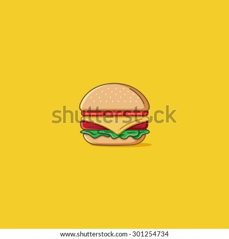 Simple Burger - stock vector