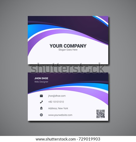 Simple Business Card Design Template Company Stock Vector - Business card design templates
