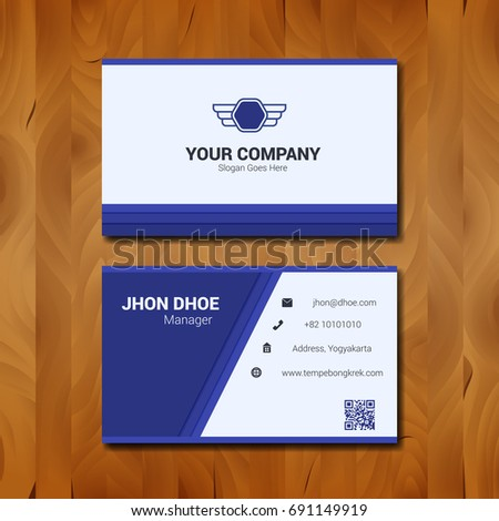 Simple business card template design company stock vector 691149919 simple business card template design with company logo on wood background friedricerecipe Image collections