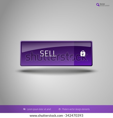 Simple button on the neutral gray background with icons. Vector design elements. Special purple edition.
