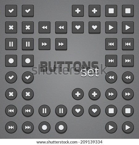 Simple buttons set with popular pictogram icons
