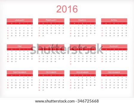 Simple calendar 2016.Abstract calendar for 2016.Vector illustration. - stock vector