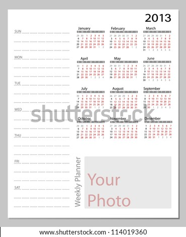 Simple 2013 calendar. All elements are layered separately in vector file. Easy editable.