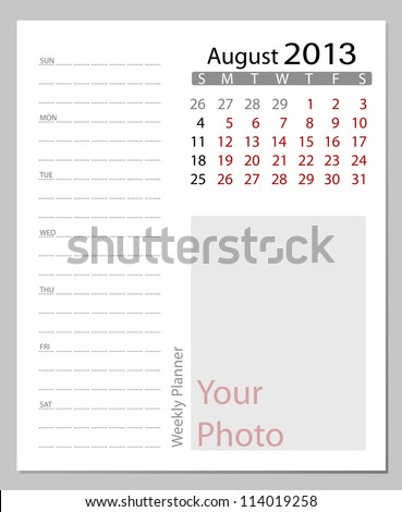 Simple 2013 calendar, August. All elements are layered separately in vector file. Easy editable.