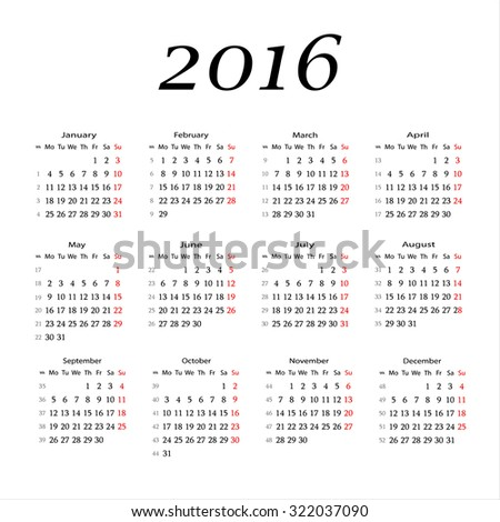 Simple 2016 Calendar / 2016 calendar design / 2016 calendar vertical - week starts with Monday. - stock vector