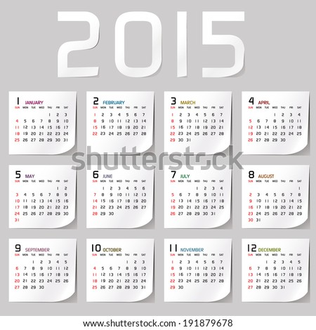 Simple 2015 Calendar / 2015 calendar design / 2015 calendar vertical - week starts with sunday  - stock vector
