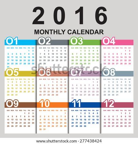 Simple 2016 Calendar / 2016 calendar design / 2016 calendar vertical - week starts with Sunday - stock vector