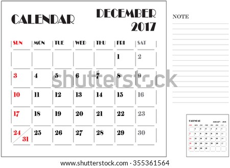 simple 2017 calendar, 2017 calendar paper design, week starts with Sunday, December