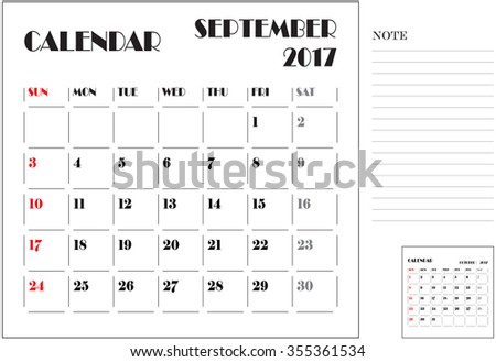 simple 2017 calendar, 2017 calendar paper design, week starts with Sunday, September