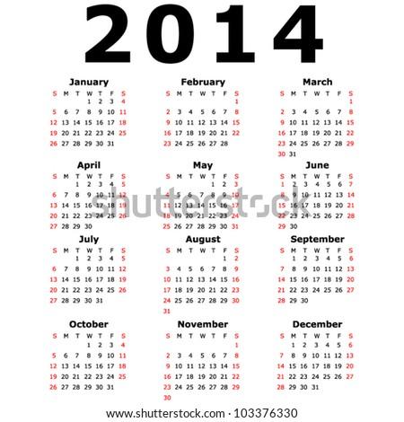 Simple 2014 Calendar (EPS 10) - stock vector