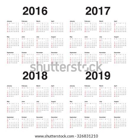 Simple calendar for 2016 2017 2018 2019