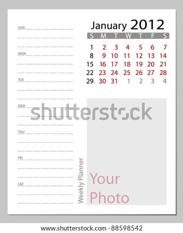 Simple 2012 calendar,January.  All elements are layered separately in vector file. Easy editable.