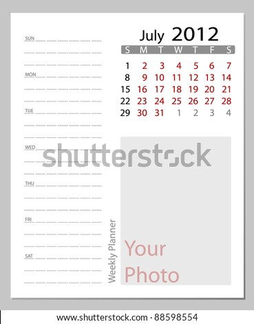 Simple 2012 calendar, July.  All elements are layered separately in vector file. Easy editable. - stock vector