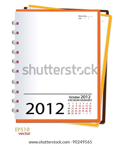 Simple 2012 calendar notebook, October. All elements are layered separately in vector file. Easy editable. - stock vector