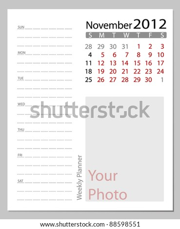 Simple 2012 calendar, November.  All elements are layered separately in vector file. Easy editable.