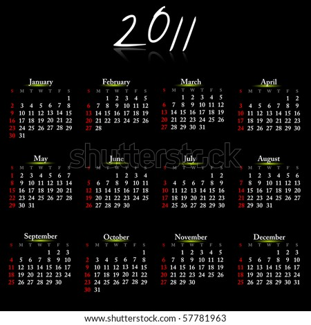 Simple calendar of 2011 on black easy to edit. Vector. - stock vector