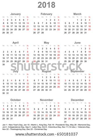 simple calendar 2018 one year glance stock vector royalty free