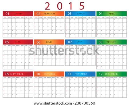 Simple calendar 2015..Stock vector. - stock vector