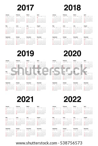 Simple Calendar template for 2017, 2018, 2019, 2020, 2021 and 2022