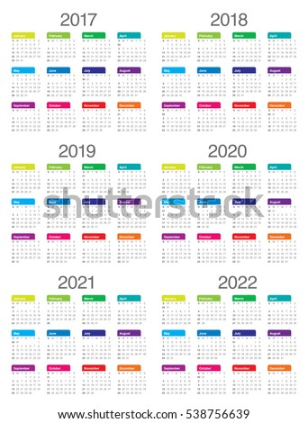 Simple Calendar Template 2017 2018 2019 Stock Vector 538756639 ...