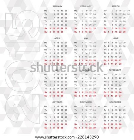 Simple 2015 calendar vector - week starts monday horizontal - stock vector