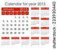 Simple 2015 Calendar - week starts with Monday, isolated on white background, vector illustration. - stock vector