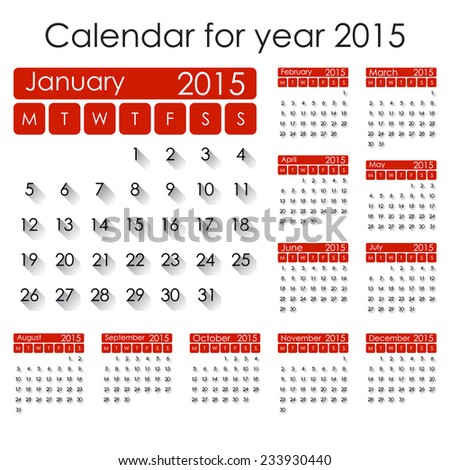 Simple 2015 Calendar - week starts with Monday, isolated on white ...