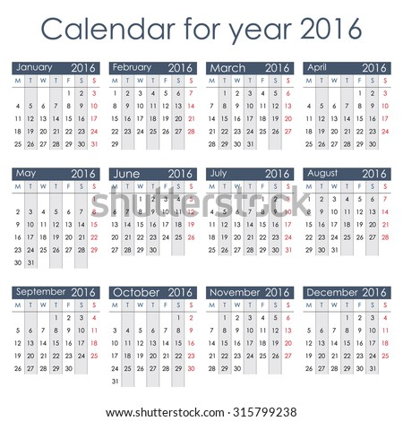 Simple 2016 Calendar - week starts with Monday, isolated on white background, vector illustration. - stock vector