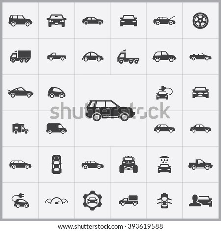 Simple car icons set. Universal car icon to use in web and mobile UI, set of basic UI car elements - stock vector