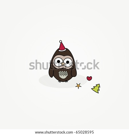 simple card illustration of cartoon owl with christmas hat and ornaments - stock vector