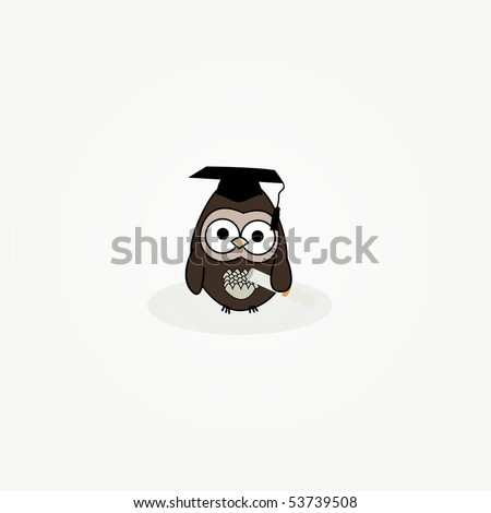 simple card illustration of cartoon owl with graduation cap and certificate - stock vector