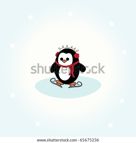 simple card illustration of cartoon penguin with scarf, ear warmers and skates - stock vector