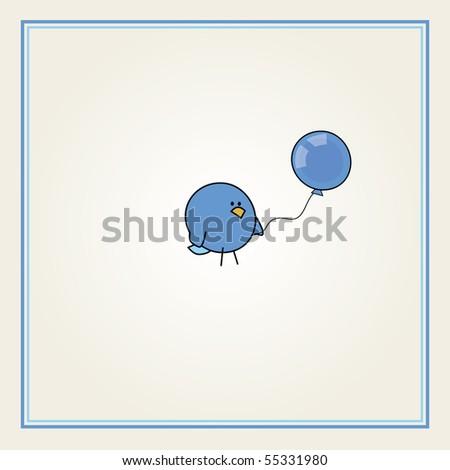 simple card illustration of funny cartoon bird with a blue balloon for boys - stock vector