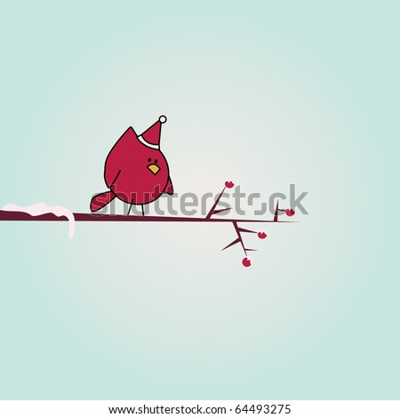 Simple card illustration of funny cartoon bird with christmas hat and snow on branch - stock vector