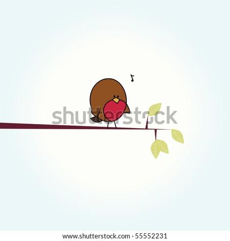 Simple card illustration of funny cartoon robin bird on branch - stock vector