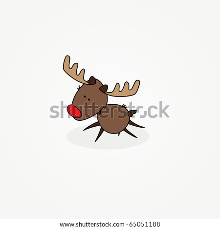 "Simple card illustration of ""Rudy"" the jumping reindeer with a red nose"