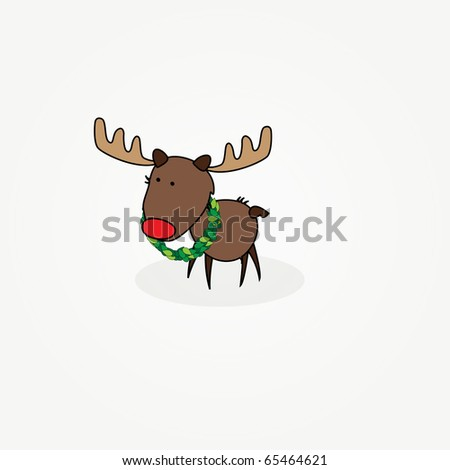 "Simple card illustration of ""Rudy"" the reindeer with a red nose - stock vector"