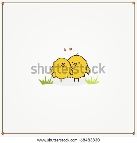 simple card illustration of two funny cartoon chickens in love - stock vector