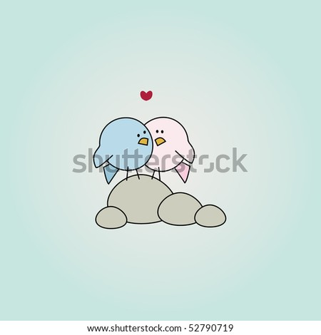 simple card illustration of two funny cartoon love birds on stones - stock vector