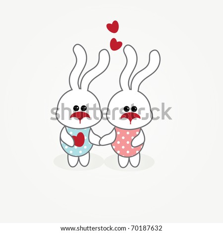simple card illustration of two funny cartoon rabbits with hearts holding hands