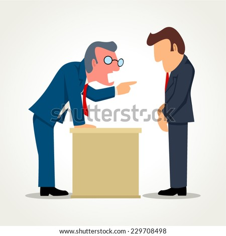 Simple cartoon of a boss angry with his subordinate - stock vector