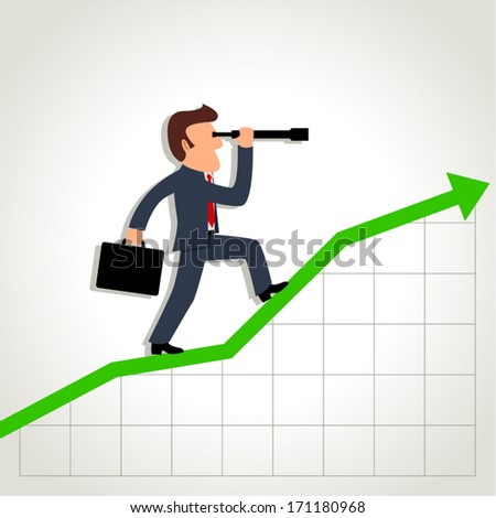Simple cartoon of a businessman using a telescope on graphic chart - stock vector